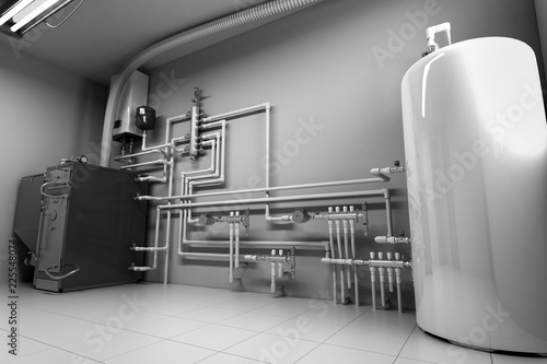 Stampa su Tela Hot water boiler Boiler room with a heating system 3d render