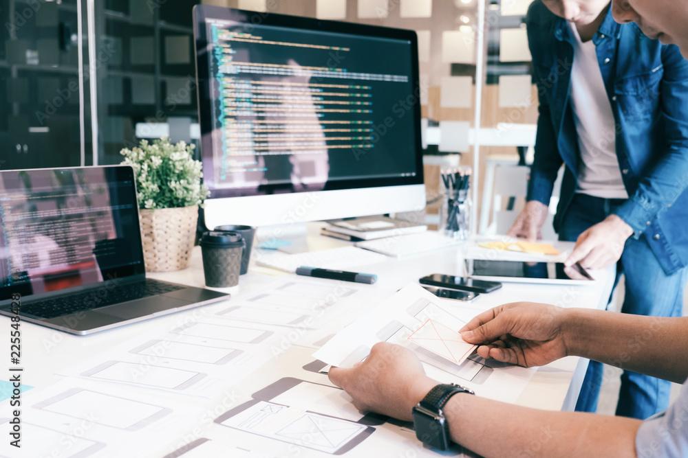 Fototapety, obrazy: UX UI and Programming development technology.