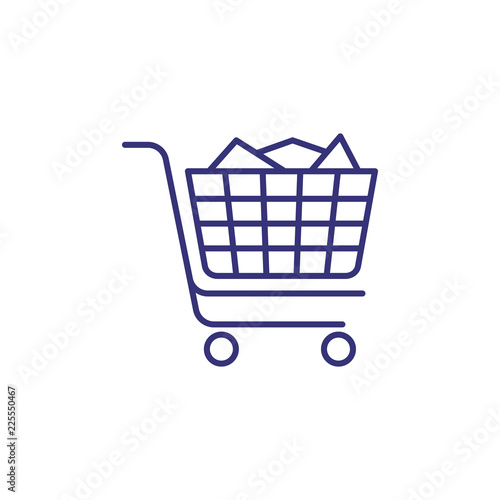 Full handcart line icon  Purchase, online shop, trolley