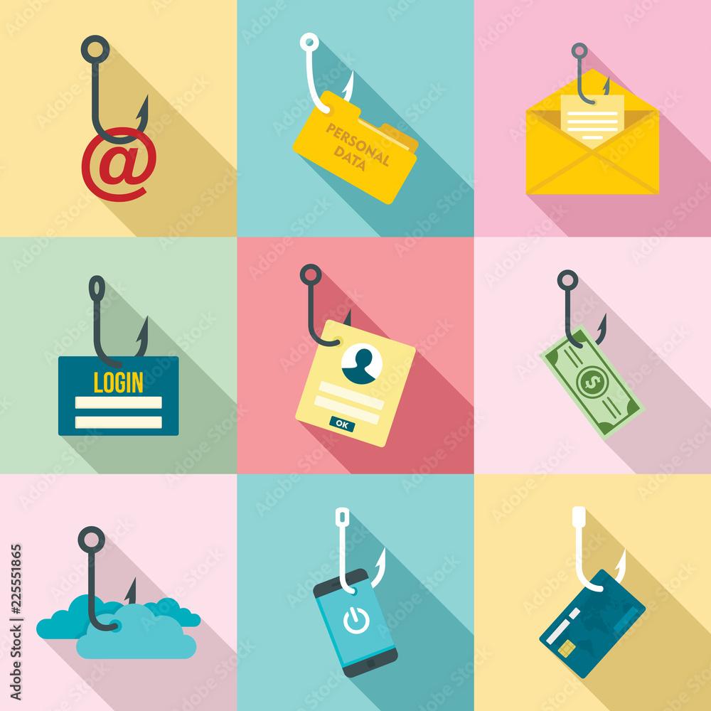 Fototapeta Phishing icon set. Flat set of phishing vector icons for web design