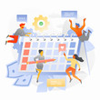 Schedule a Project Plan Illustration with Tiny People. Business team is planning a project schedule. Trendy vector illustration for business planning, news, and events, reminder and timetable.