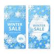 Set of winter sale banner. Origami snowfall. Vector Illustration.