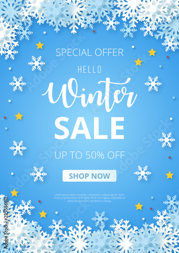 Obraz Winter sale banner. Origami snowfall. Vector Illustration. - fototapety do salonu