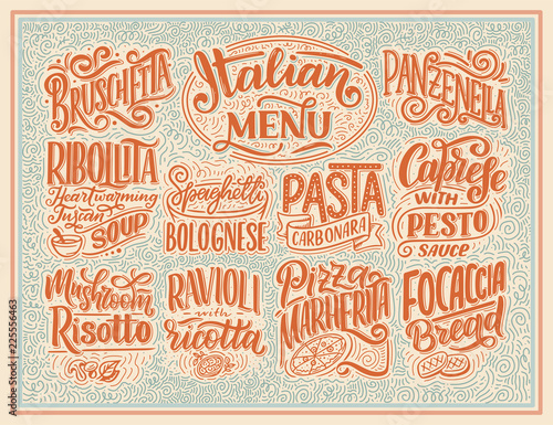 Canvas Print Italian food menu - names of dishes