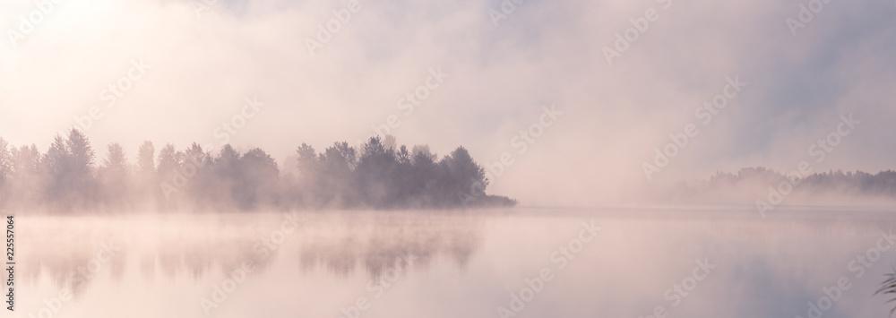 Fototapety, obrazy: Beautiful foggy morning. Fog over autumn lake at sunrise moment. Wide panorama.
