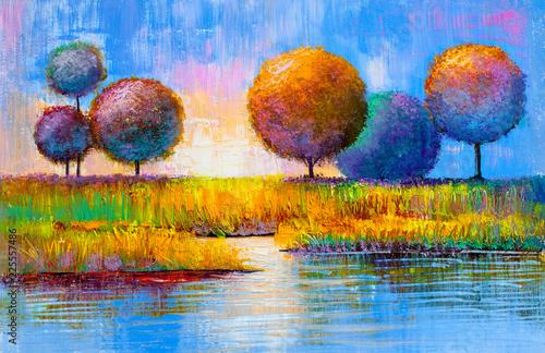 Obraz Abstrakcyjny obraz z rzeką i drzewami - fototapety do salonu
