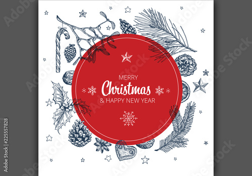 Christmas Card Layout With Hand Drawn Illustrations Buy This Stock