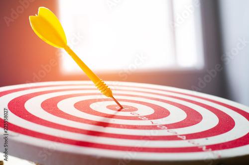 Photo target dart pin on center 10 point dartboard  Marketing concept.