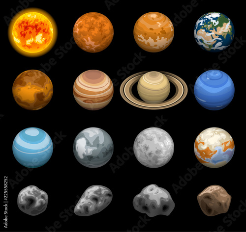 Fotografía Space planets icon set