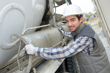 Man With Cement Transporting Lorry