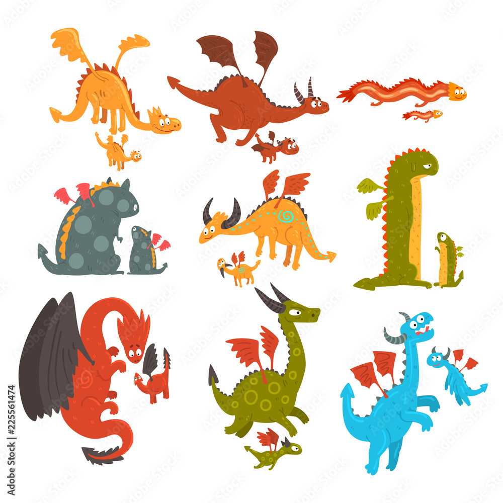 Fototapeta Mature dragons and small baby dragons set, loving mothers and their kids, families of mythical animals cartoon characters vector Illustration on a white background