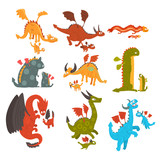 Mature dragons and small baby dragons set, loving mothers and their kids, families of mythical animals cartoon characters vector Illustration on a white background