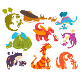 Fototapeta Dinusie - Mature dragons and baby dragons set, families of mythical animals cartoon characters vector Illustration on a white background
