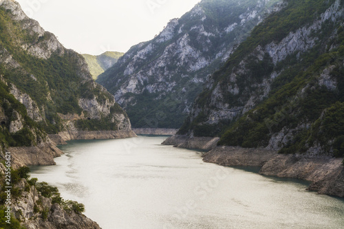 Piva river canyon in the northern Montenegro.