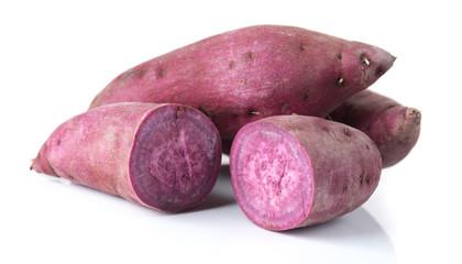 Fresh purple cassava isolated on white