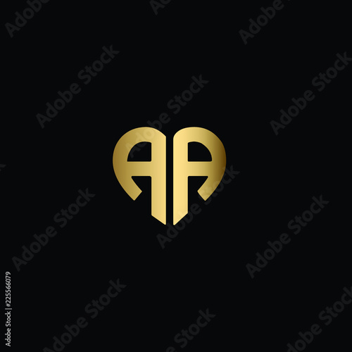 Heart Shaped Initial Letters A A Or Aa Romantic Logo Design