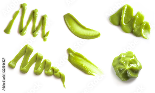 Canvas Print Collection of green wasabi sauce isolated on white background