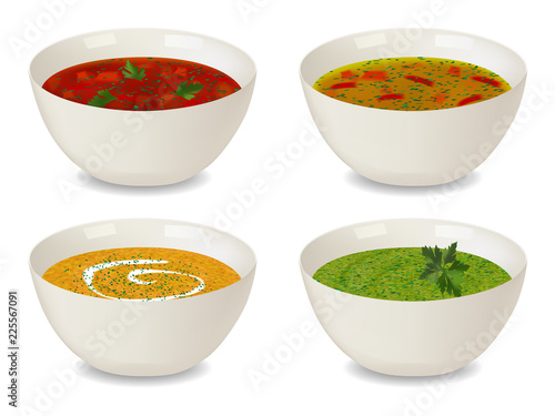 Fototapeta Collection of bowls with soup and cream soup