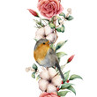 Watercolor vertical border with robin and flowers. Hand painted tree border, cotton, branch, dahlia, berries and leaves, lagurus isolated on white background. Illustration for design or background.