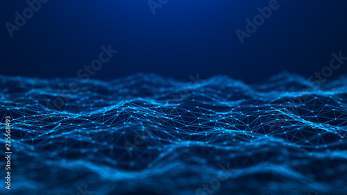 Abstract technology background. Network connection. Big data visualization. 4k rendering.
