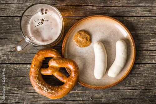 Stampa su Tela The bavarian weisswurst, pretzel and mustard.