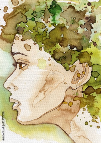 In de dag Schilderkunstige Inspiratie Watercolor illustration, portrait of a woman.