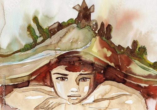 Fotobehang Schilderkunstige Inspiratie Watercolor illustration, portrait of a child.