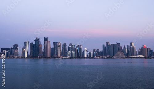 Foto op Aluminium New York Morning Twilight Doha Skyline View. Qatar, Middle East
