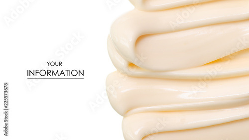 Fotografie, Obraz  Mayonnaise macro cream pattern on white background isolation