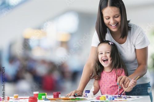Happy family kid mom babysitter parent teacher Canvas Print