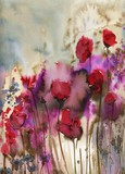 Piękne akwarele, które przynoszą kwiaty na płace, maki - 225574471
