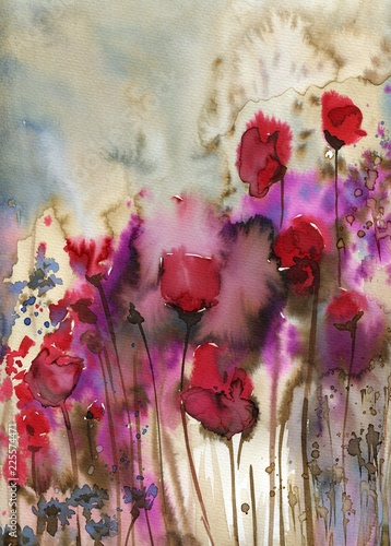Foto op Canvas Schilderkunstige Inspiratie Beautiful watercolor paintings that bring flowers to wages, poppies