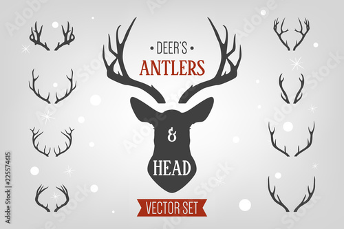 Foto Black silhouette hand drawn deer s horn, antler and head set