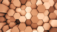 Abstract Modern Hexagonal Surface 3D Illustration. Orange Voxel Grid Particle Honeycombs Moving Up And Down In Waves. Technology, Information And Future Concept In Background.