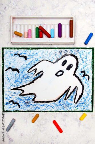 Photo  Colorful hand drawing: Scary White Ghost