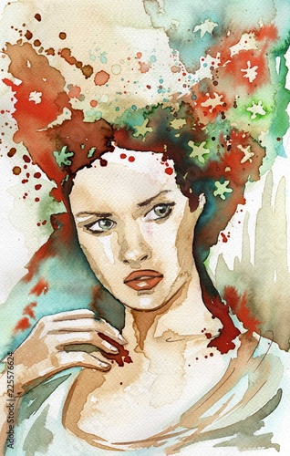 Poster de jardin Inspiration painterly Watercolor portrait of a woman