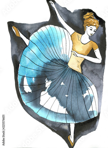 Spoed Foto op Canvas Schilderkunstige Inspiratie Illustration of a dancing woman