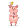 Funny Piggy symbol 2019 new year. A pig stands and holds a flower in his hands