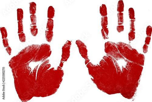 Vászonkép  Red Handprints - Isolated