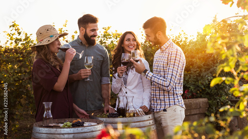 Wall Murals Vineyard Happy friends having fun drinking wine at winery vineyard - Friendship concept with young people enjoying harvest time together