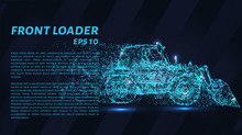 Front Loader Of Particles On A Dark Background. The Front Loader Consists Of Geometric Shapes. Vector Illustration.