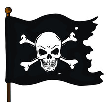 Ripped Vector Pirate Flag On M...