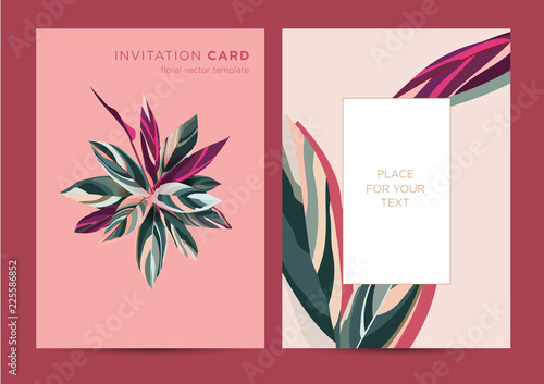 Fototapeta Vector Design Of Invitation Card Template For Party Wedding Greetings Botanical Illustration Colorful Leaves Of An Exotic Plant On A