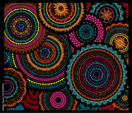 Poster Boho Style Background from Round Ornament Patterns