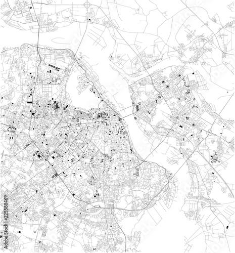 Fototapeta Mappa satellitare di Hanoi, Vietnam, strade della città