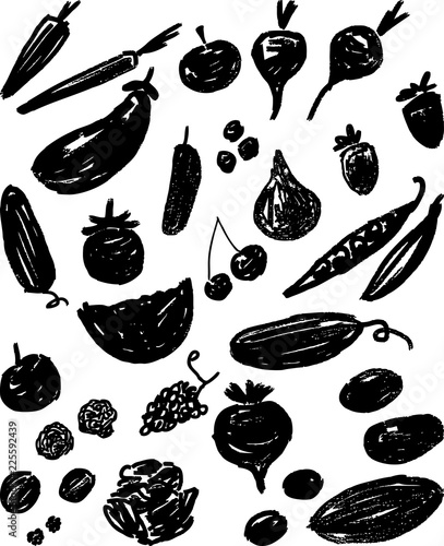 Canvastavla  Silhouettes of various fruit and vegetables