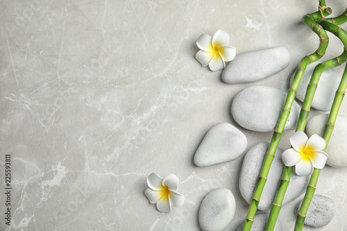 Bamboo branches, spa stones and flowers on gray background, top view. Space for text