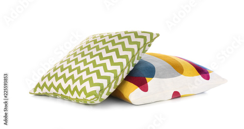 Fotografia  Different colorful pillows on white background