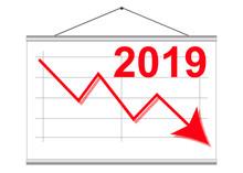 Descendant Arrow As Symbol For Crisis Or Decrease In 2019 Statistics