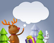3d render, Christmas reindeer, deer, moose, talking balloon, greeting card, festive template, holiday silver background, digital illustration